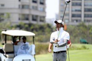O ator Marcos Pasquim durante a partida de golfe Foto: Gustavo Garrett/CBG