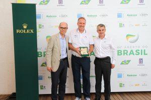 Stephan Meili, diretor-geral da Rolex no Brasil, Wagner Martins, da Embrase, e o presidente da CBG, Euclides Gusi