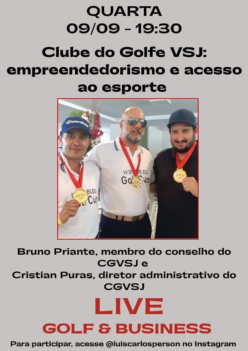 Live nesta quarta-feira, 19h30, com Luis Person e os golfistas Bruno Priante e Cristian Puras